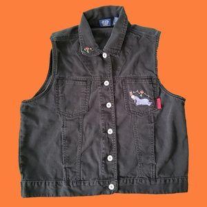 Vintage pooh eeyore black denim vest